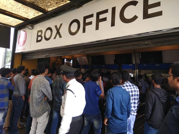 People protesting at Prasad IMAX for the cancellation of shows