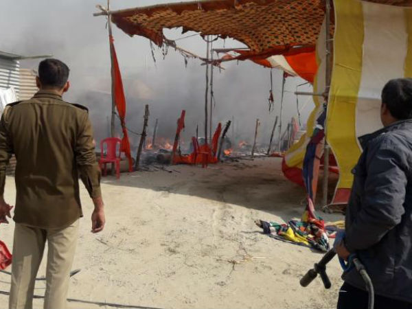 Fire at Kumbh Mela camp in Prayagraj after suspected cylinder blast