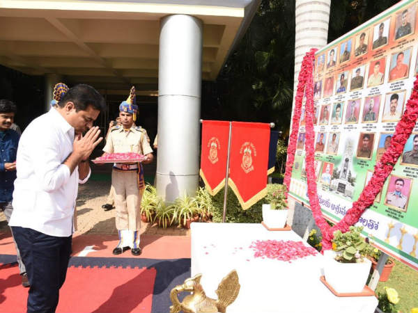 ktr tributes to pulwama martyrs and gave 50 lakh rupees cheque