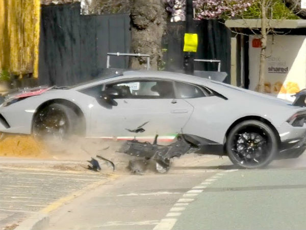 Lamborghini Car Performante LOSES control and CRASHES into a Tree