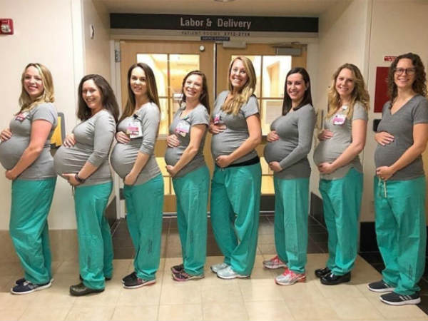 nine delivery nurses at a us hospital are all pregnant at the same time