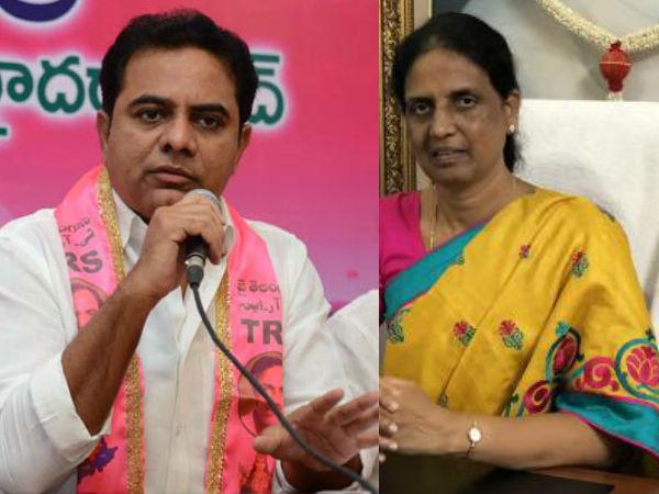 <strong>2 షరతులు: అసదుద్దీన్ ఇంట్లో కేటీఆర్తో సబితా భేటీ, అందుకే కాంగ్రెస్కు గుడ్బై</strong>