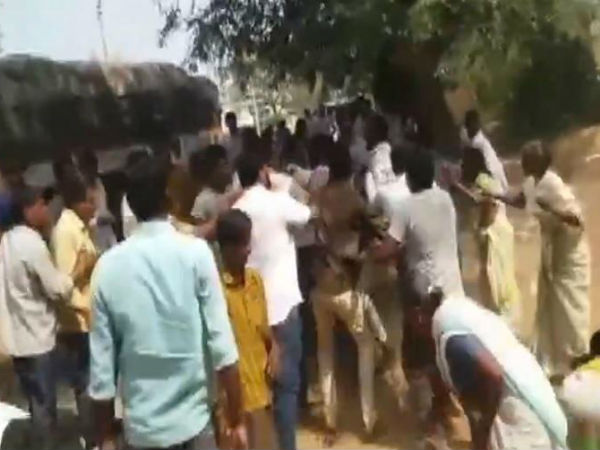Hig Tension over the Veerapuram village under Tadipatri Assembly constituency in Ananthapur District