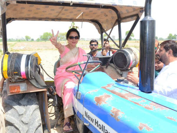 previous farm, today tractor drive : hemamalini election campaign