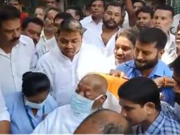 mukesh goud reaches by ambulance to cast vote