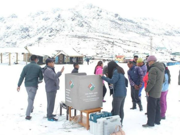 polling centres on snow hills in sikkim for 180 voters