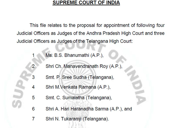 SC Collegium Recommends 4 new Judges to AP and 3 to TS