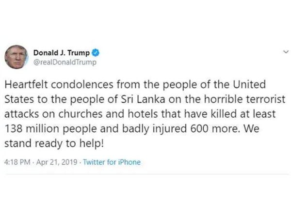 Trump Tweets Wrong Figure For Number Of Dead In Sri Lanka