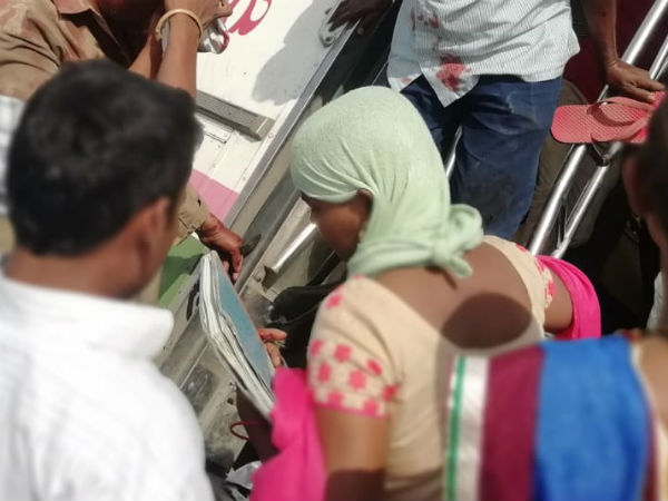 rtc buss accident at mancherial, driver serious, 19 wounded