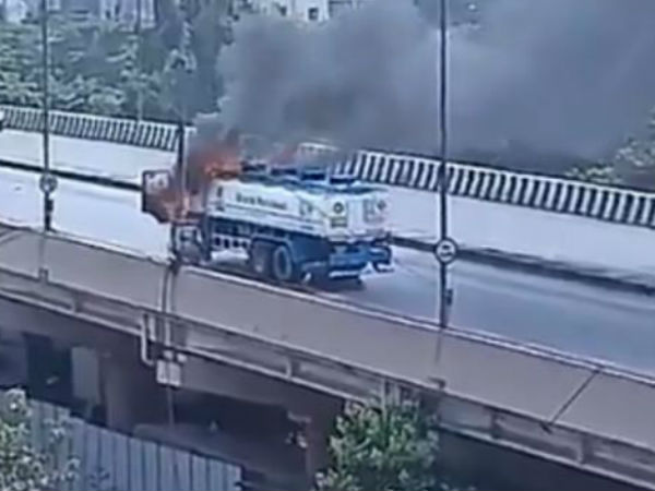 Petrol tanker catches fire on Goregaon flyover, traffic affected