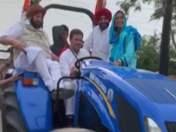 Congress Chief Rahul Gandhi drove Tractor at Ludhiana in Punjab
