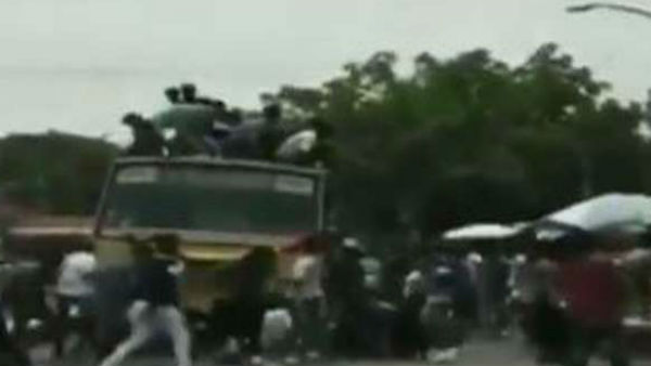 Students fall from the bus top during Bus day celebrations in Chennai