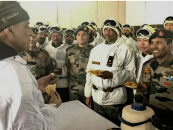 In his first visit Rajnath Singh Meets Troops in Siachen