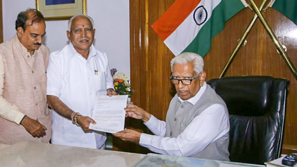 Yeddyurappa meets governor to claim majority in assembly