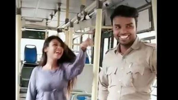 Delhi transport staff dancing with girl in bus face action