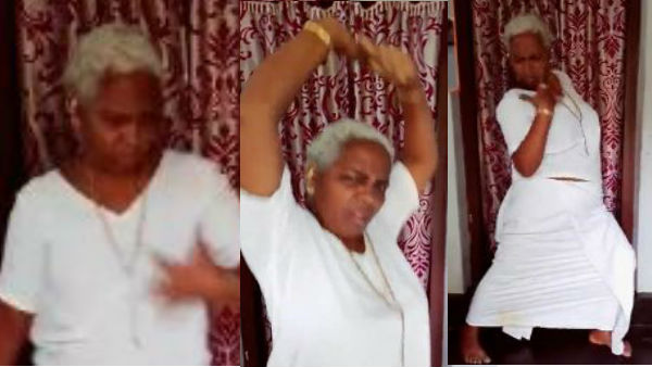 old age grandma shaking social media with her dance