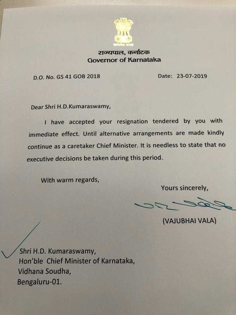 Kumaraswamy went to Raj Bhavan on foot to submit his resignation letter to the Governor.