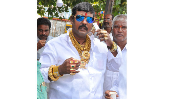 Goldman in Yadadri.!Total body covered with gold..!!