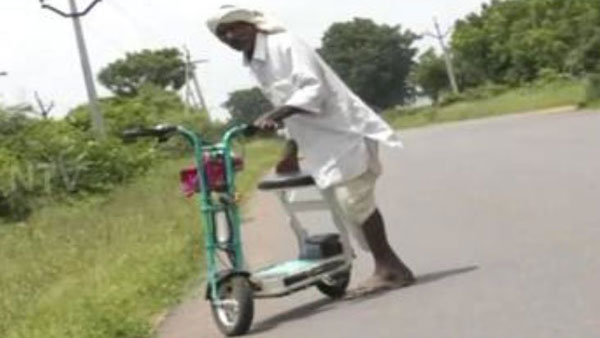 a man gifted a battery bike to his farmer father