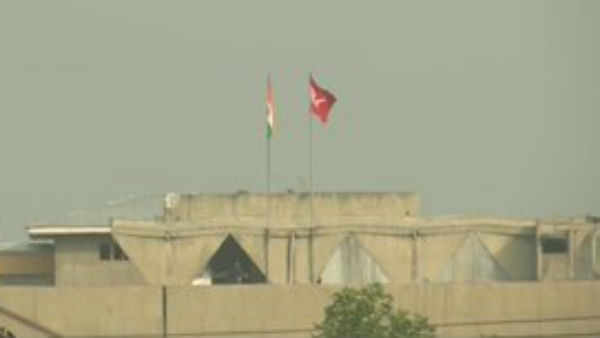 Jammu and Kashmir flag along with Tricolor atop the Civil Secretariat at Srinagar