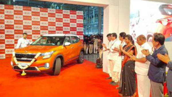 kia seltos car launched by ministers of Andhra Pradesh at Penukonda plant in Ananthapur District