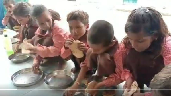 salt served in the place of curry for mid-day meal in UP Mirzapur