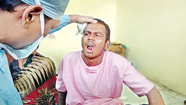 a husband cuts his tongue while quarrel with his wife