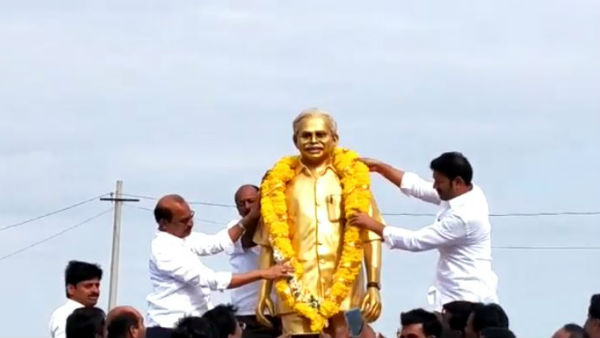 Former Minister of AP YS Vivekananda Reddy statue unveiling in Pulivendula in Kadapa District
