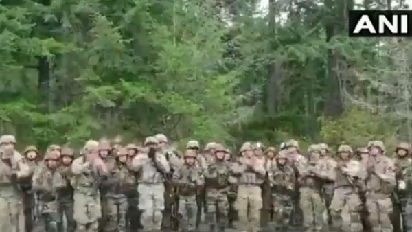 Indian and US soldiers dance and sing in unison during Exercise Yudh Abhyas