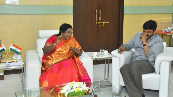 cine Hero chiranjeevi met Governor Tails soundar Rajan in Raj Bhavan..invited her to watch Syra movie