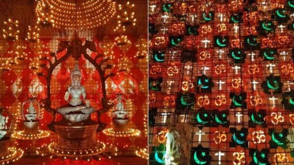 vదుర్గామాత మండపంలో అజాన్: ఓంకారంతో పాటు ఇస్లామిక్, క్రైస్తవ మత చిహ్నాలు: కేసు నమోదు