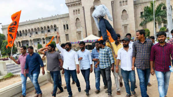 TSRTC STRIKE OU ABVP STUDENTS BURNS CM KCR SCARECROW