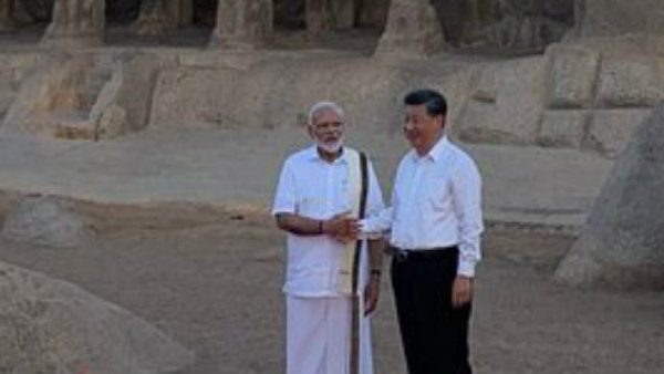 PM Modi in Tamil traditional outfit, attracts many at Mahabalipuram
