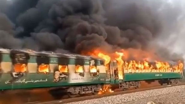 65 people were killed as fire engulfed an express train in Liaqatpur