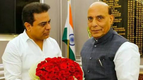 Telangana Minister KTR met with Union Defense Minister Rajnath Singh