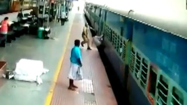 RPF personnel saved a passenger from slipping under a moving train