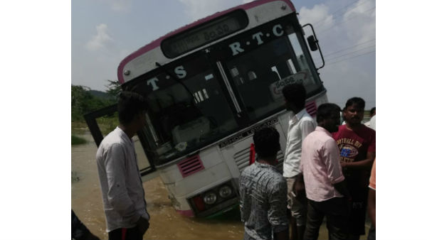 rtc bus rush into river in nagarkurnool district with temporary driver