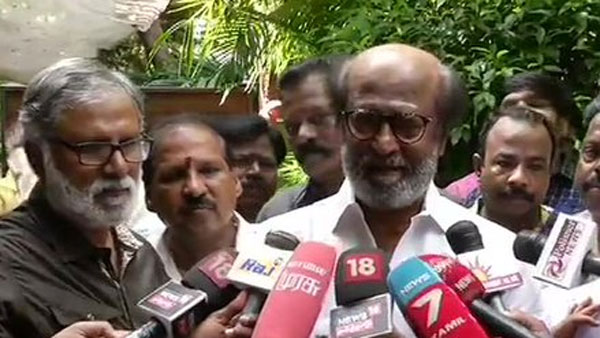 Superstar Rajinikanth meets his fans outside his residence in Chennai