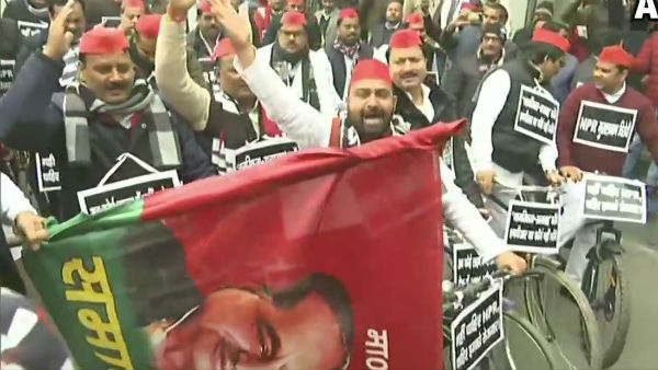 Samajwadi Party Chief Akhilesh Yadav flags off a cycle march of party MLAs against CAA, NRC and NPR