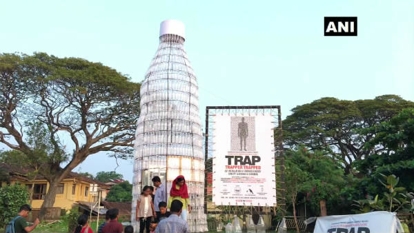 a trapped man in a plastic bottle: a campaign against the use of plastic in Kerala