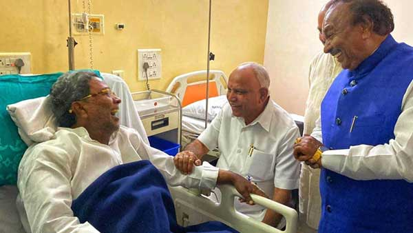 BS Yediyurappa Visits Congress Leader Siddaramaiah At Hospital