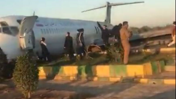 Iranian flight exited runway when landing in the airport of Mahshahr Port city,