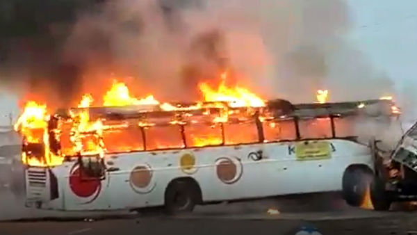 tourist bus met with an accident and caught fire at Pydibimavaram in Srikakulam district