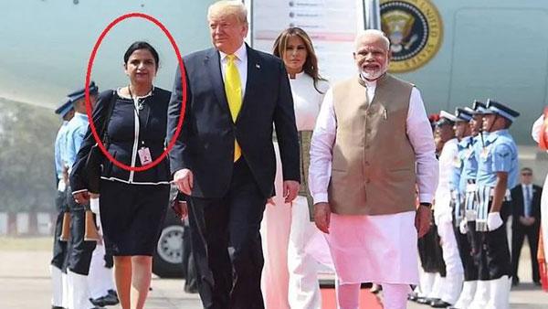 మోడీ..ట్రంప్..మెలానియా: ఈ ముగ్గురి వెంట రెడ్ కార్పెట్పై భారతీయ మహిళ: ఆమె ఎవరో తెలుసా?