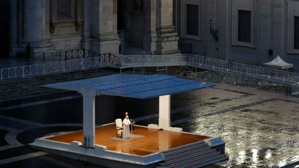 Pope Francis Prays Alone In St. Peters Square amid the Coronavirus outbreak