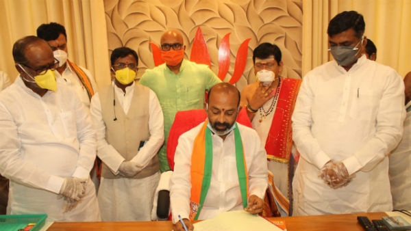 Karimnagar MP Bandi Sanjay Kumar taken charge as Telangana BJP State President