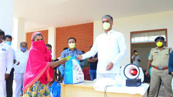 Telangana Minister Harish Rao interact the Covid-19 patient family members in Sangareddy