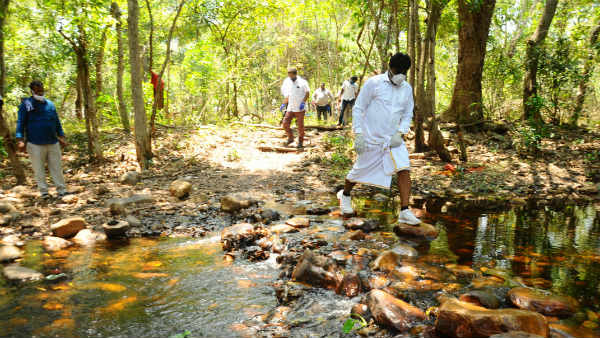 YSRCP MLA Biyyapu Madhusudhan Reddy trekking in forest to reach tribal people
