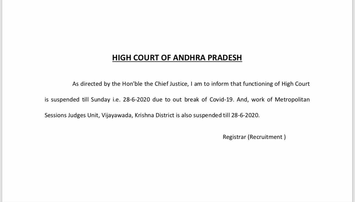 AP High Court functioning is suspended upto 28th due to Covid-19 outbreak