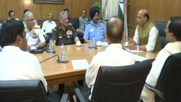 Defence Minister Rajnath Singh holds meeting with Army, Navy and Air Force Chiefs